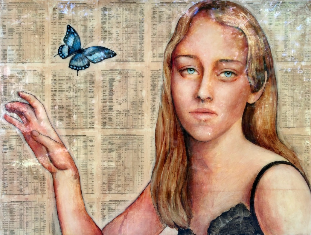 Girl with Blue Butterfly 36x48 epoxy