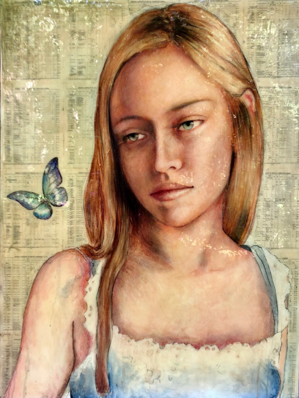 Girl with Blue Purple Butterfly 48x36 epoxy