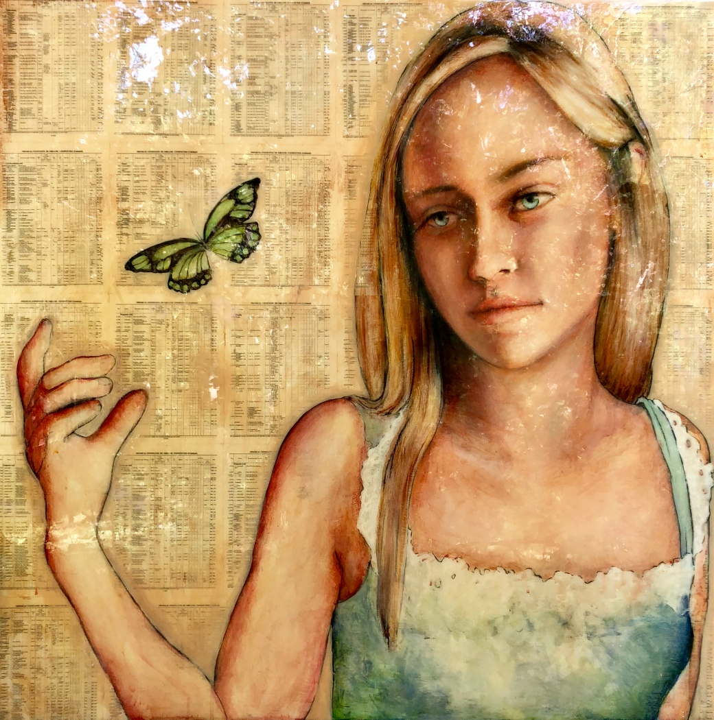 Girl with Green Butterfly 48x48 epoxy