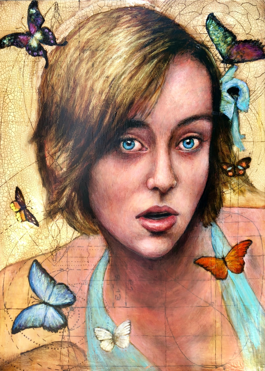 Girl with Seven Butterflies 44x32